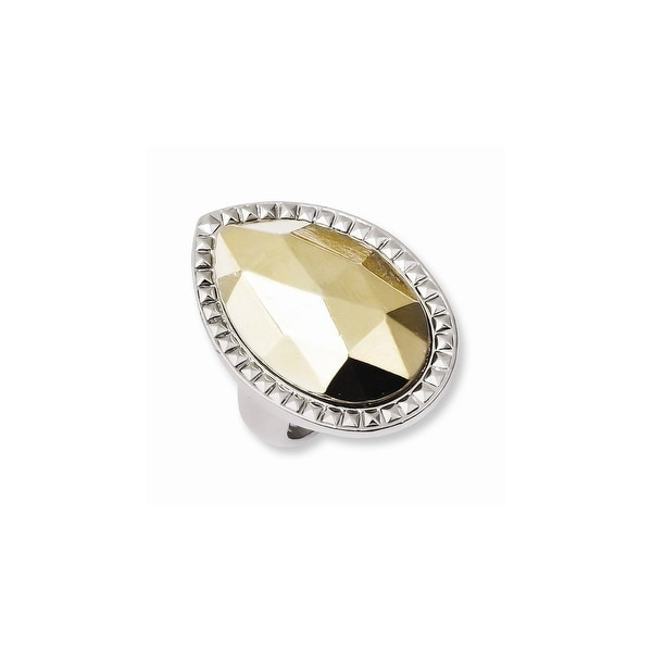Silvertone w/Simulated Goldtone Stone Ring