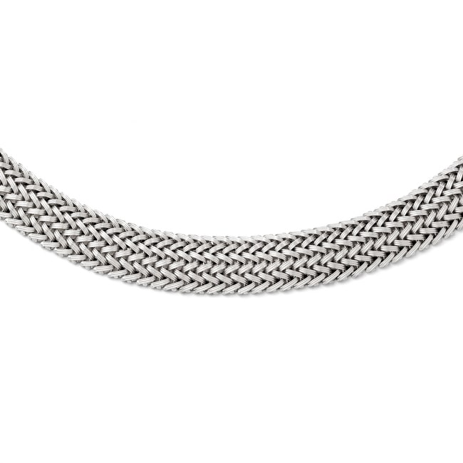 Italian Sterling Silver Polished Mesh Braided Necklace - 18 inches