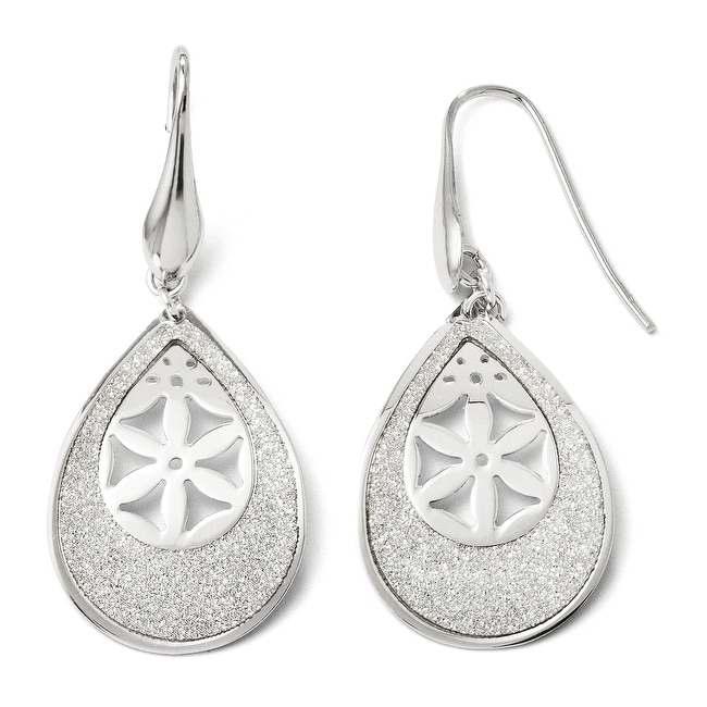 Italian Sterling Silver Polished Laser cut Dangle Shepherd Hook Earrings