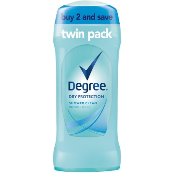 Degree Women Anti-Perspirant Deodorant Invisible Solid,Twin Pack, Shower Clean 2.6 oz