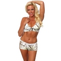 Women's 2-Piece Camo Bikini White True Timber Halter Top & Hot Shorts Beach Swimwear Swimsuit - Thumbnail 0