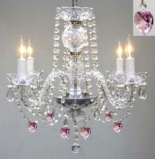 Chandelier Lighting With Crystal Pink*Hearts*H17 W17