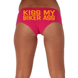 Women's Sexy Hot Booty Boy Shorts Kiss My Biker Ass Block Orange Bold Style Type Lingerie