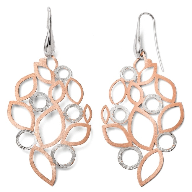 Italian Sterling Silver Rose 18k Flash Plated Earrings