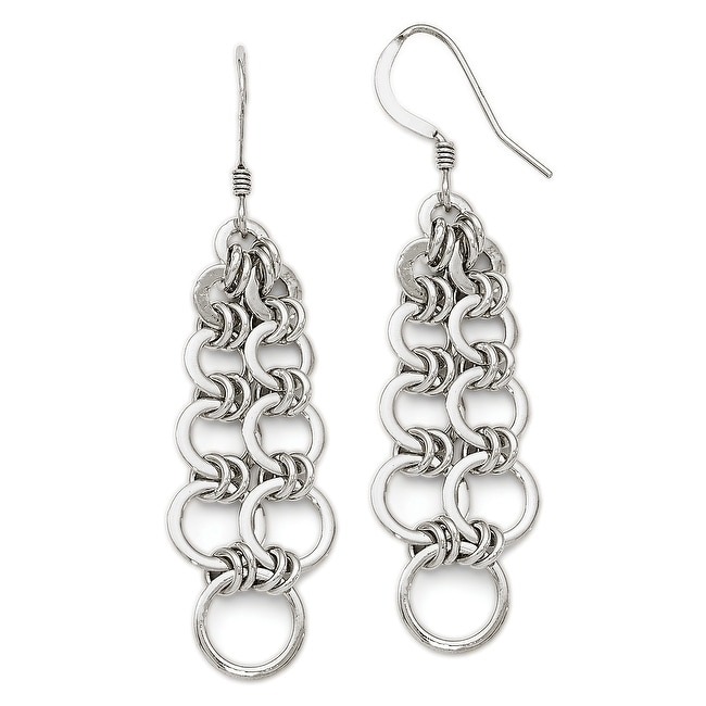 Sterling Silver Polished Round Link Chain Dangle Earrings