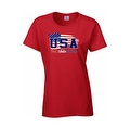 Women's USA Flag Juniors T-Shirt Red WHITE & Blue Stars & Stripes Pride Tee - Thumbnail 3