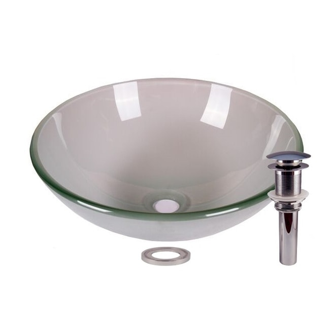 JANO Frosted Tempered Glass Bathroom Vessel Basin Sink