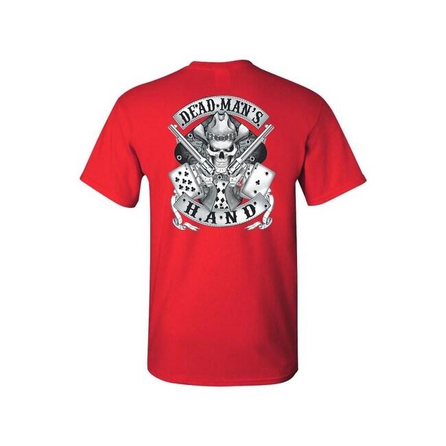 Mens t shirt dead mans hand outlaw skull pistols poker cards front menx27s t shirt dead manx27s hand outlaw voltagebd Gallery