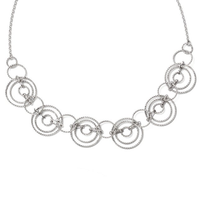 Italian Sterling Silver Laser-cut Link Necklace with 2in ext - 18 inches