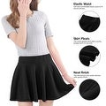 Women's Short Stretch High Waist Plain Skater Flared Pleated Mini Skirt Dresses - Thumbnail 8