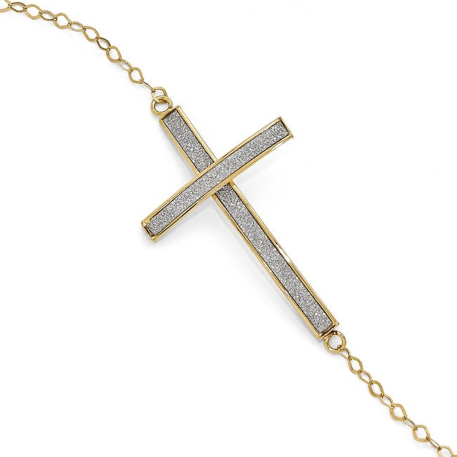 Italian 14k Gold Glimmer Infused Sidways Cross Bracelet - 7.5 inches