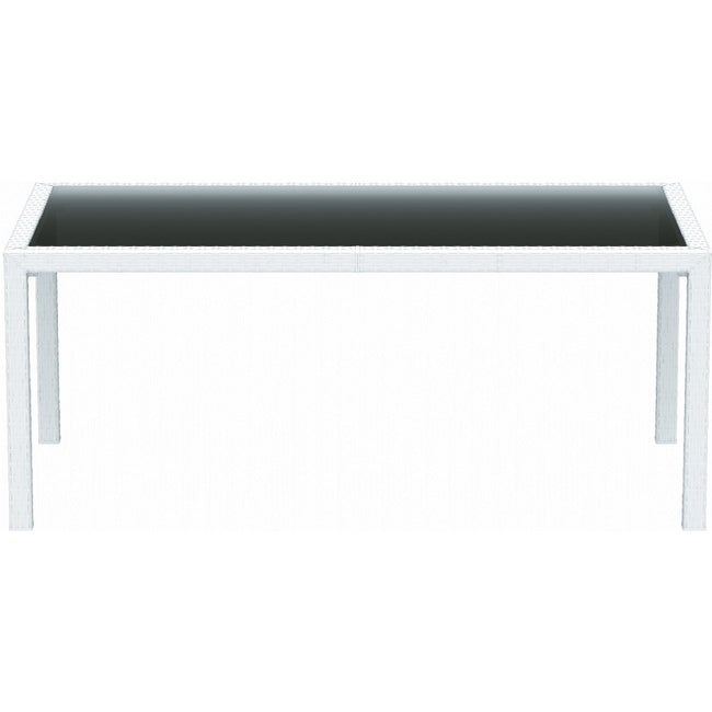 "Miami Resin Wickerlook Rectangle Dining Table 71 Inch (White) (29""H x 37""W x 71"""