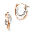 Italian 14k Rose & White Gold Polished Hinged Hoop Earrings - Thumbnail 0