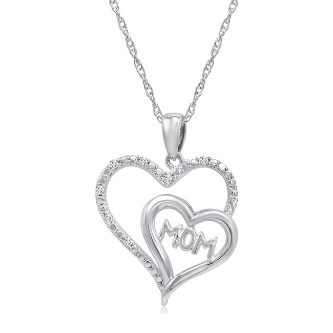 Amanda Rose Mom in Heart Diamond Pendant Necklace in Sterling Silver