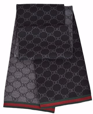 Gucci 325806 Wool Black Reversible GG Guccissima Red Green Stripe Scarf - black grey red green