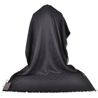 GUCCI 165903 XL Black Wool Silk GG Guccissima Logo Scarf Shawl
