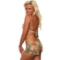 Women's 2-Piece Camo Bikini Orange True Timber Halter Top & Hot Shorts Beach Swimwear Swimsuit - Thumbnail 3