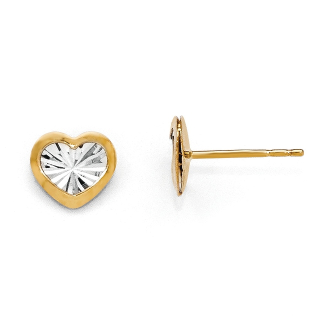 14k Gold with White Rhodium-plated Polished & Diamond Cut Heart Post Earrings