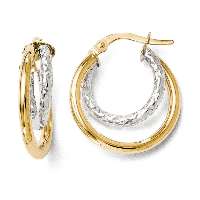Italian 14k Two-Tone Gold Polished and Diamond Cut Double Hoop Earrings