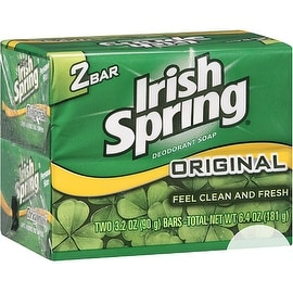 Irish Spring 3.2-ounce Original Deodorant Bar Soap (2 Bars Each)