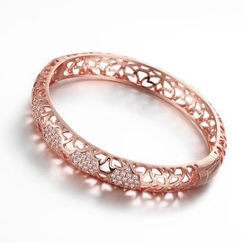 Vienna Jewelry Rose Gold Plated Dazzle Diva Bangle