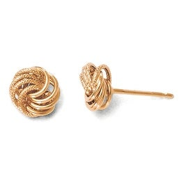 Italian 10k Rose Gold Polished and Texured Post Earrings