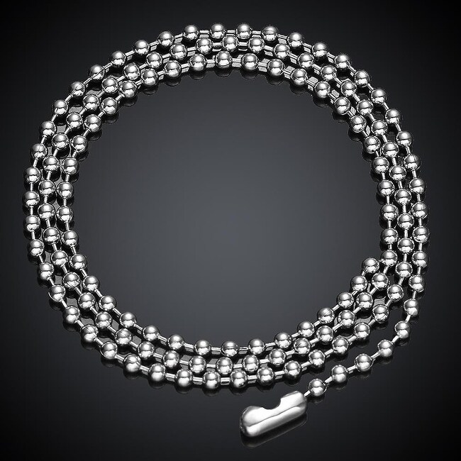 Beaded Stainless Stainless Steel Men's Chain 22 Inches