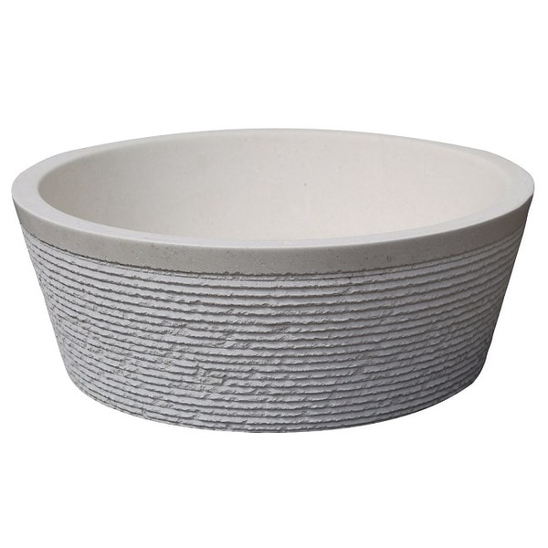 Brushed Natural Stone Vessel Sink - Limestone