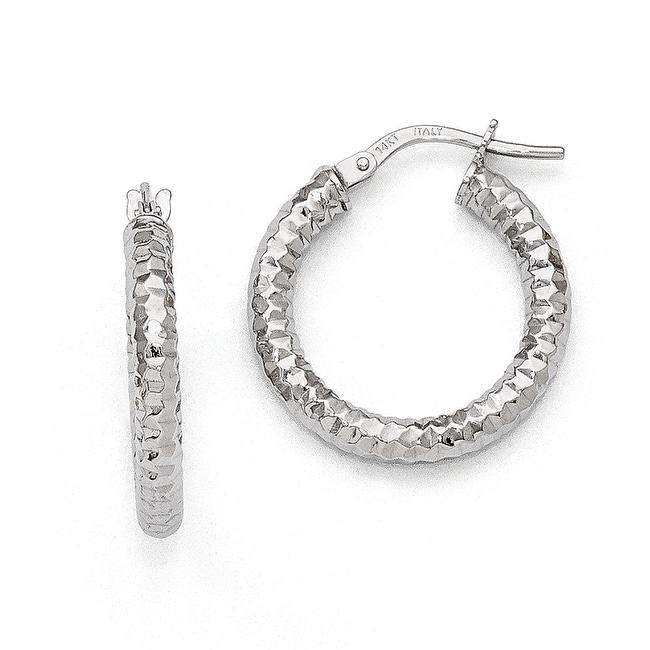 Italian 14k White Gold Textured and Polished Hoop Earrings