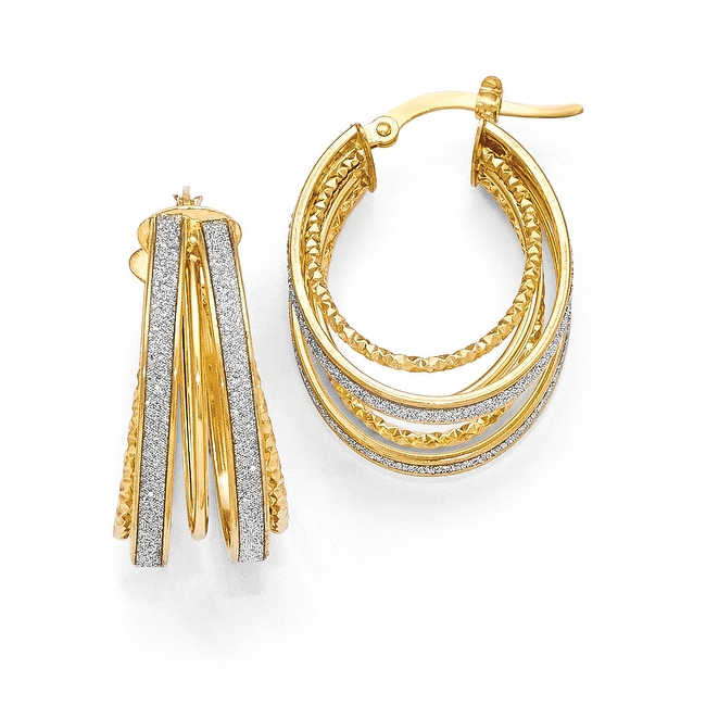 Italian 14k Gold Polished & Textured Glimmer Infused Hoop Earrings