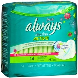 Always Fresh Ultra Thin Pads Long Super Flexi-Wings 14 Each
