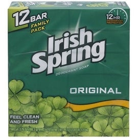 Irish Spring 3.75-ounce Deodorant Soap Original 12 Each
