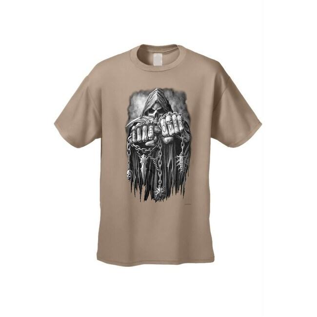 Shop Men's T Shirt Grim Reaper's Game Over Death Scythe Chains Skull