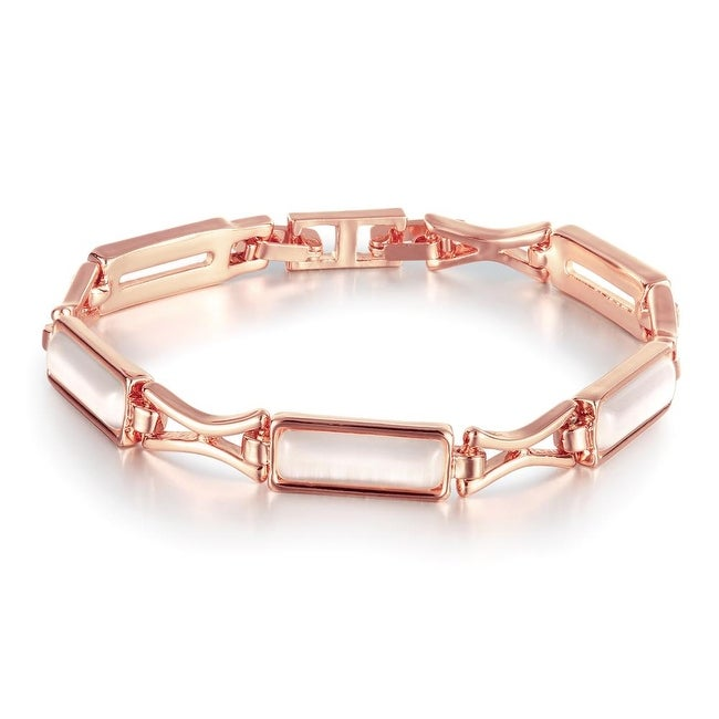Shop 18K Rose Gold Plated Bracelet with Brass Plates with Swarovski  Elements - Free Shipping On Orders Over  45 - Overstock - 11497644 7930e3269c8a