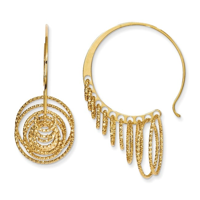 Italian Sterling Silver and Gold-plated Polished and Laser-cut Hoop Earrings