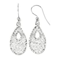 Italian 14k White Gold Dangle Shepherd Hook Earrings