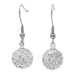 Amanda Rose Ladies Pave Crystal Disco Ball Dangle Earrings (12mm)