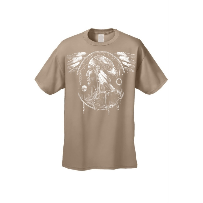 Men's T-Shirt Dreamcatcher Indian Native American Hawk Day & Night Wings Tee