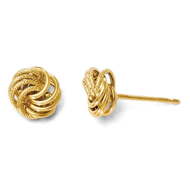 Italian 14k Gold Polished and Textured Post Earrings