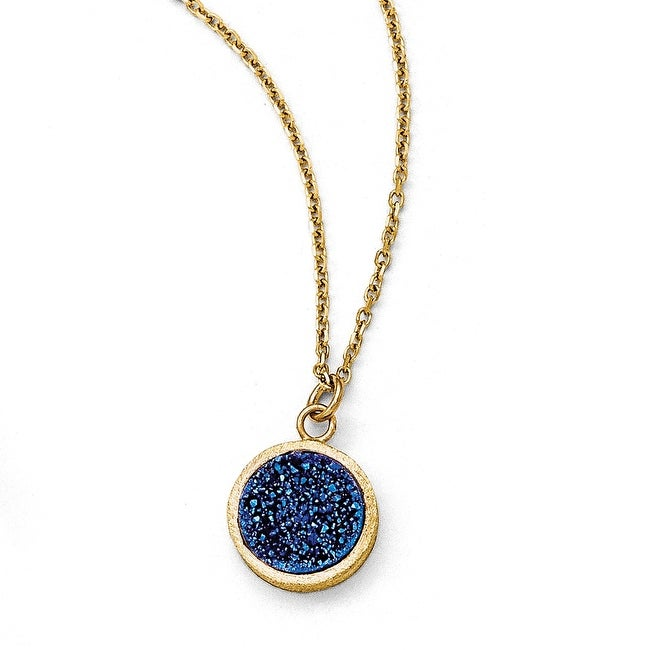 Italian 14k Gold Blue Druzy Disc Scratch Finish Necklace - 17 inches