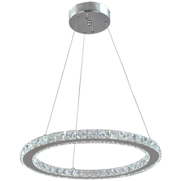 Crystal Ring Led Modern Chrome Pendant Lamp Light