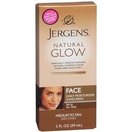Jergens Natural Glow Daily Facial Moisturizer SPF 20, Medium To Tan Skin Tones 2 oz