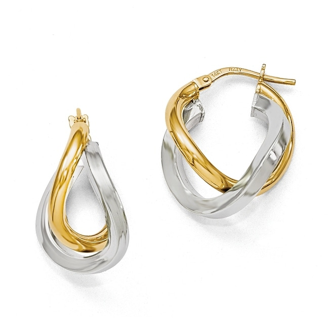 Italian 14k Two-Tone Gold Polished Hoop Earrings