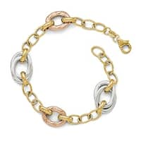 Italian 14k Tri-Color Gold Polished Textured Fancy Link Bracelet - 8 inches
