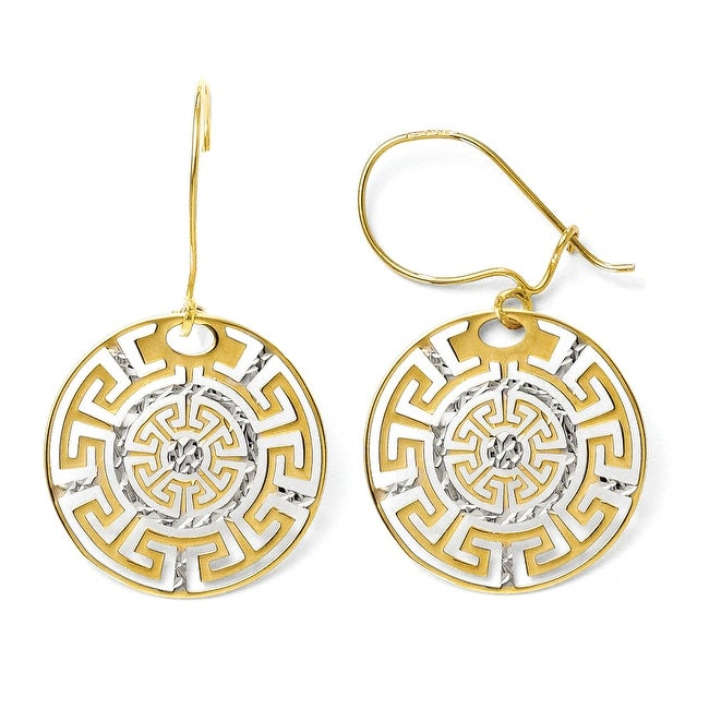 14k Two-Tone Gold Greek Key Dangle Earrings
