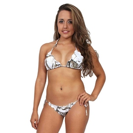 Women's White Camo True Timber 2-Piece Ruffle Bikini Swimwear Swimsuit Beach Camouflage