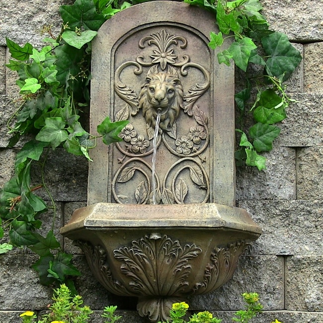 Sunnydaze Decorative Lion Outdoor Wall Fountain