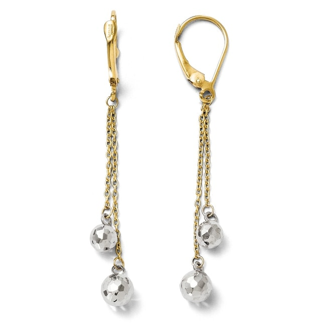 14k Two-Tone Gold Polished Dangle Leverback Earrings