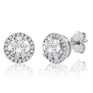Amanda Rose Sterling Silver Halo Stud Earrings made with Austrian Crystals