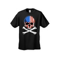 Men's T-Shirt USA Flag Skull Crossed Bones American Pride Stars/Stripes Patriotic - Thumbnail 2